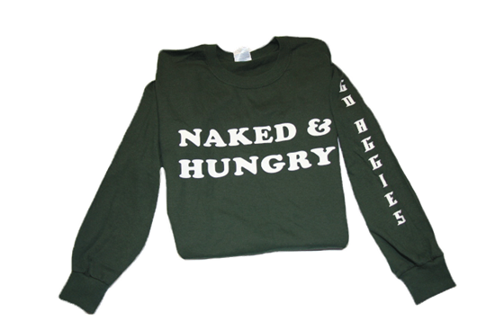 Picture of Naked and Hungry Long Sleeve Green Sweatshirts